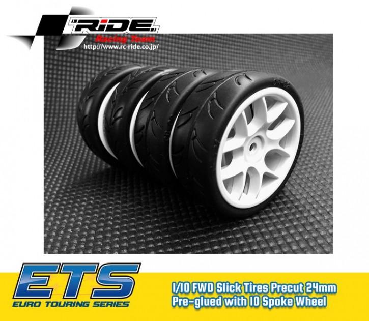 Ride 1/10 Slick Tires Precut 24mm Pre-glued with 10 Spoke Wheel White, 4pcs