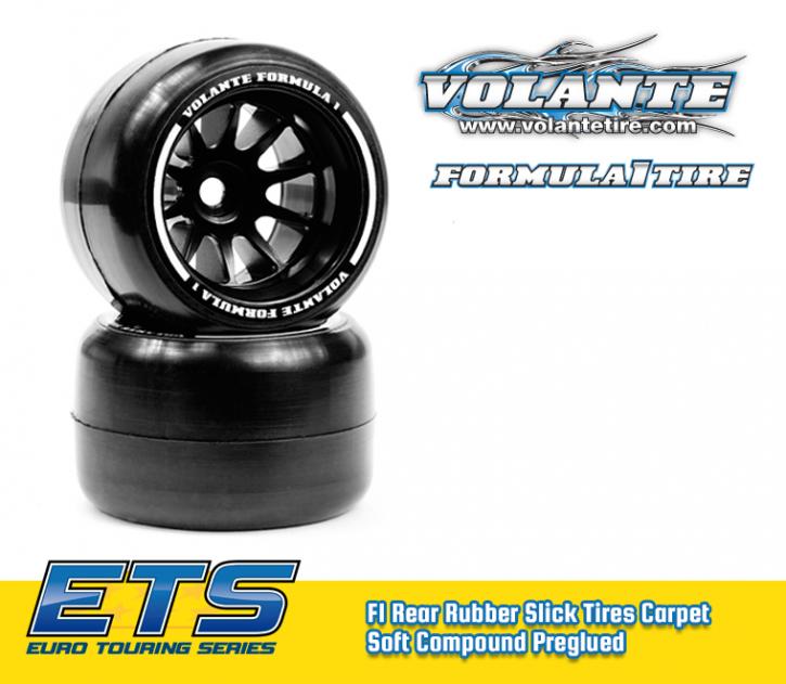 Volante F1 Rear Rubber Slick Tires Carpet Soft Compound Preglued