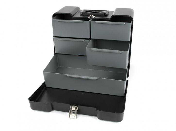 Polyno Werkzeugkoffer mit 5 Schubladen schwarz